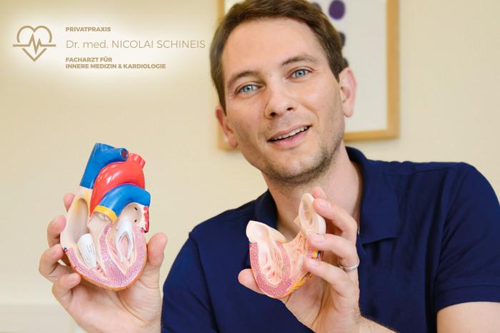 Dr. med. Schineis erklärt mit Modellherz in der Hand